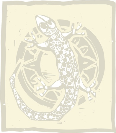 gecko: Woodblock print style image of lizard and circle Illustration