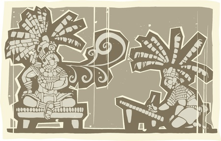 Woodblock print style image of Maya king and Scribe Vector