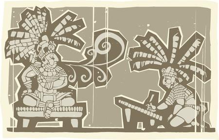 Woodblock print style image of Maya king and Scribe