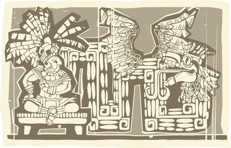plumed: Woodblock print style image of a Maya King and plumed serpent