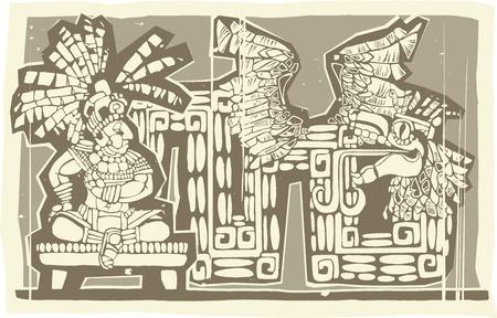 Woodblock print style image of a Maya King and plumed serpent