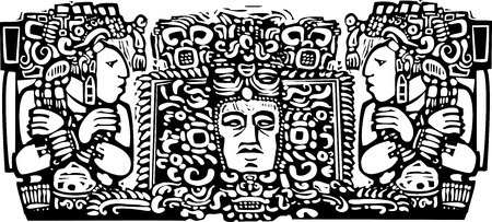 Woodblock style Mayan Triptych image with priests