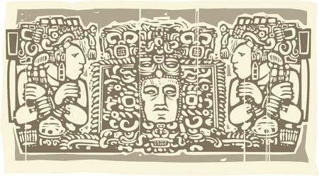Woodblock style Maya Drieluik beeld met priesters Stock Illustratie
