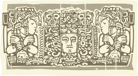 triptych: Woodblock style Mayan Triptych image with priests