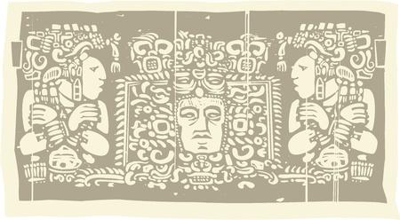 Woodblock stijl Maya Drieluik beeld met priesters