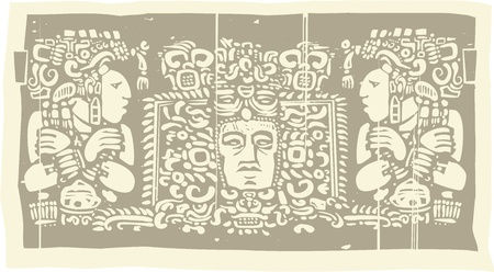 mural: Woodblock style Mayan Triptych image with priests