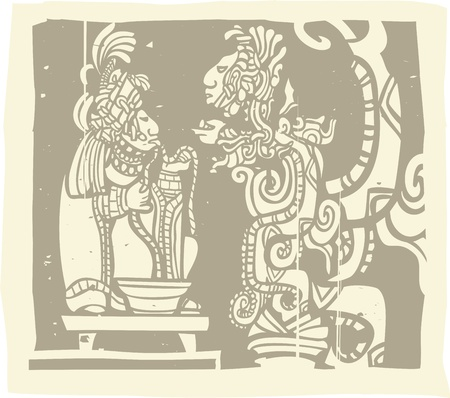 Woodblock style Mayan image with a priest and Vision Serpent Çizim