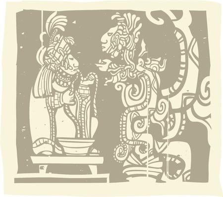Woodblock stijl Maya beeld met een priester en Geluid Serpent