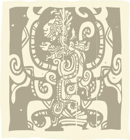 Woodblock stijl Maya beeld met Vision Serpent Stock Illustratie