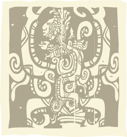mesoamerican: Woodblock style Mayan image with Vision Serpent