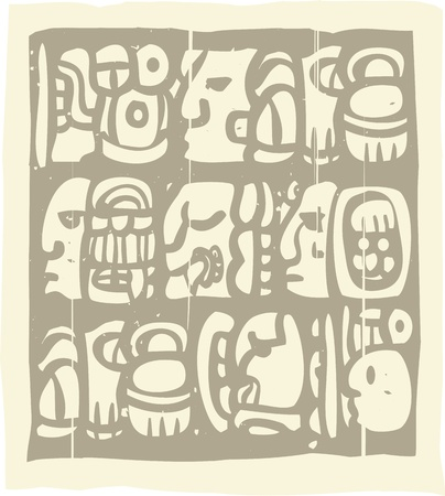 codex: Woodblock style Mayan language in writing glyphs Illustration