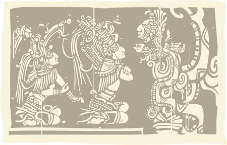 sacrificio: Bloque de madera de la imagen de estilo maya, con una serpiente sacerdote y Visión Vectores