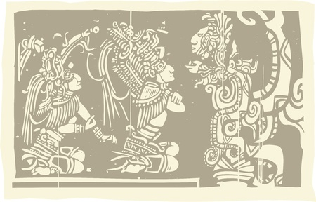 Woodblock style Mayan image with a priest and Vision Serpent Illusztráció