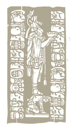 Mayan priest with offering bowl in image derived from traditional mayan temple imagery  Vector