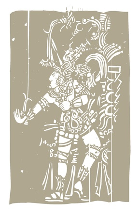 mesoamerican: Mayan warrior designed after Mesoamerican Pottery and Temple Images