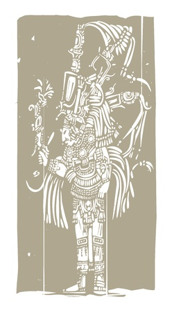 toltec: Mayan warrior designed after Mesoamerican Pottery and Temple Images