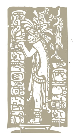 ancient warrior: Mayan god in Jaguar skin smokes a pipe in image derived from traditional mayan temple imagery  Illustration
