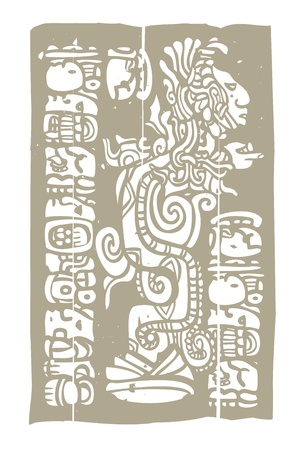 Vision serpent derived from traditional mayan temple imagery  Illustration