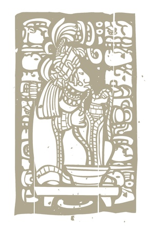 mesoamerican: Mayan Lord running rope through his tongue in a traditional blood sacrifice  Illustration