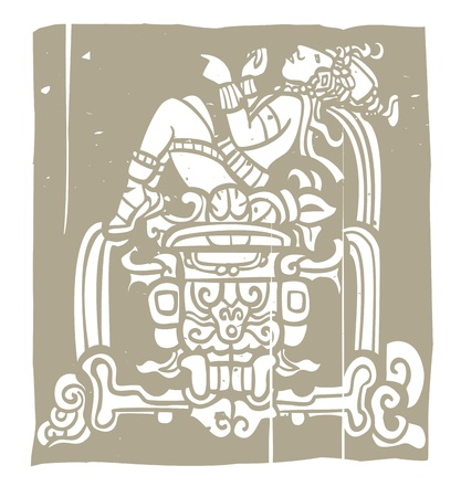 Reclining Mayan with throne adapted from temple images  Vector