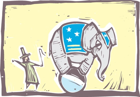 Circus elephant in stars and stripes balances on a ball