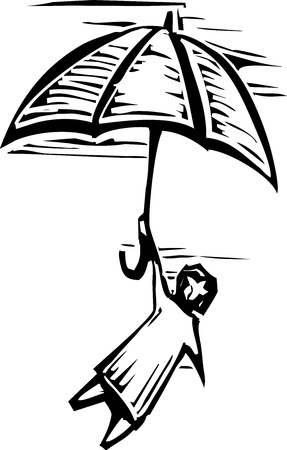 Woodcut person holds onto an umbrella flying through the air