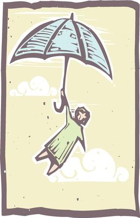 우산 목판 인쇄 스타일에 공기를 통해 비행에 판화 사람은 보유 일러스트