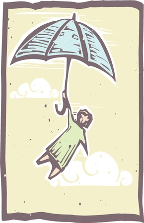 Woodcut person holds onto an umbrella flying through the air in a woodblock print style