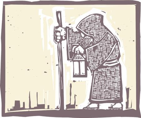 Beeld van een een oude bebaarde man lopen met een lamp in een druk van de stijl Stock Illustratie