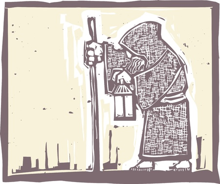 isolation: Image of a an old bearded man walking with a lamp in a woodblock print style Illustration