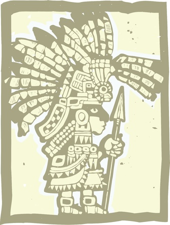 Teotihuacan Warrior rendered in a woodbblock print style   Çizim