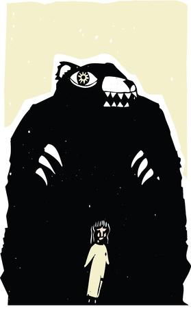 Woodblock print style image of bear menacing a girl  Illustration