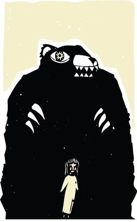menacing: Woodblock print style image of bear menacing a girl  Illustration