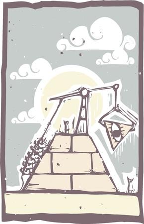 눈을 가진 프리메이슨 피라미드의 제작