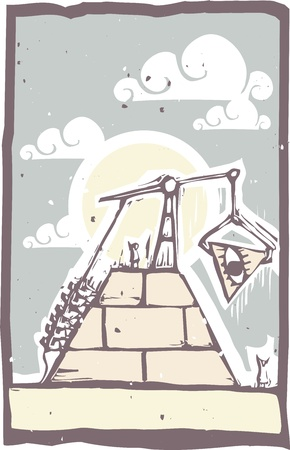 building construction: A construction of a masonic pyramid with the eye being put in place