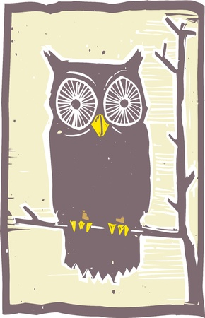 Woodblock print style owl in a tree