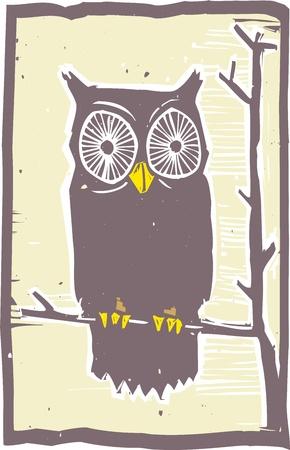 woodblock: Woodblock print style owl in a tree