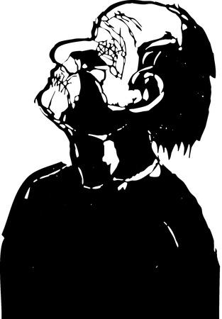 木版画のスタイルでシャット ダウン目とステッチの口を持つ男  イラスト・ベクター素材