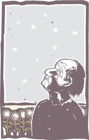 ignorancia: El hombre con los ojos y la boca cosida cerrada conscientes de campo de las estrellas y los girasoles