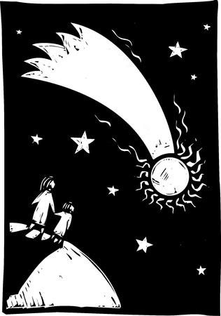 Twee mensen kijken als een komeet licht op de hemel