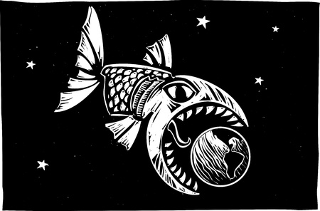 devour: Giant monster fish getting ready to devour the Earth