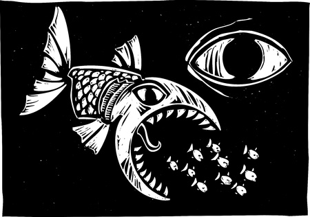 even: Big fish eating little fish watched by even bigger fish  Illustration