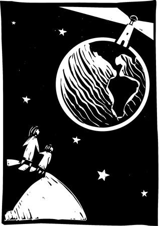pioneer: Deux personnes � la recherche au phare sur la Terre dans l'espace Illustration