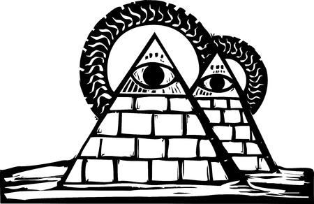 Dos pirámides masónicas en el desierto con los ojos fijos