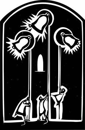 Woodcut style image of Monks Ringing Bells ina cathedral
