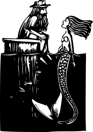 mermaid visits man sitting on a dock piling