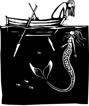 woodcut: Girl in a rowboat looking down at a mermaid in the water Illustration