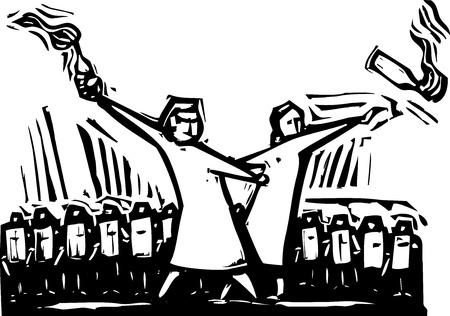 抗議の間に 2 つの女性投げモロトフ カクテル  イラスト・ベクター素材