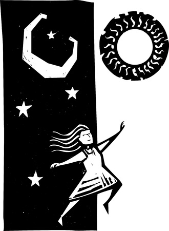 woodcut: Girl jumping between nighttime and daytime