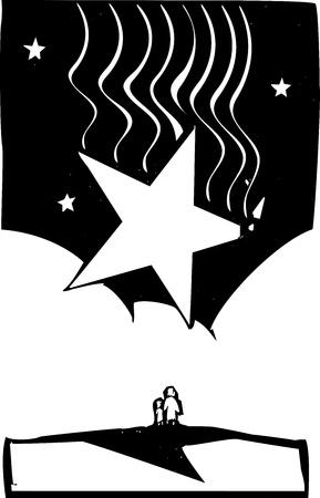 Vallende ster druppels op twee mensen kijken